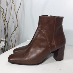 DKNY brown leather booties